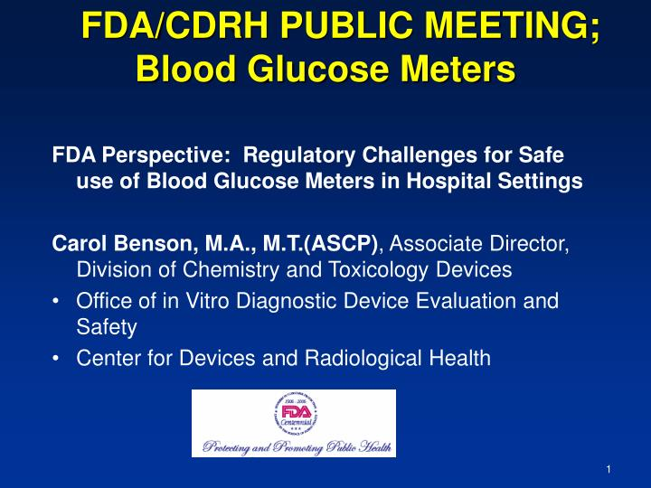 fda cdrh public meeting blood glucose meters n.