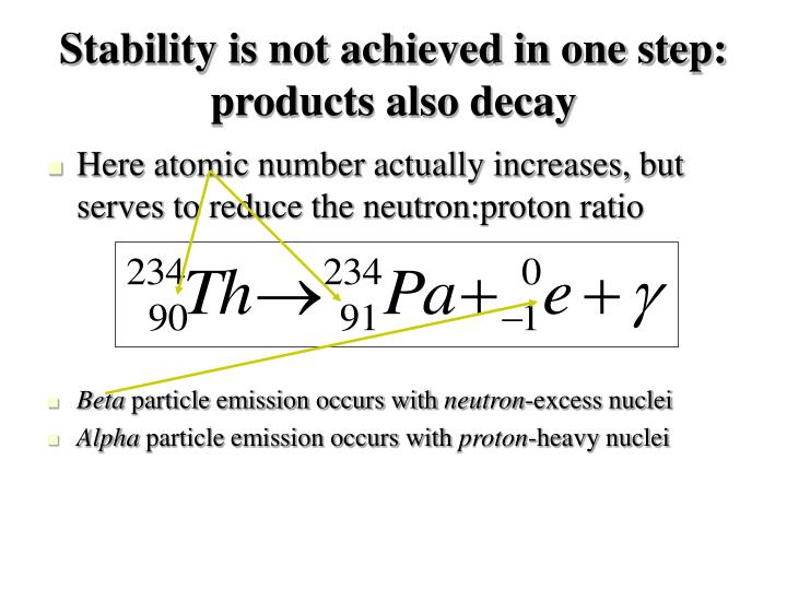 Stability is not achieved in one step: products also decay