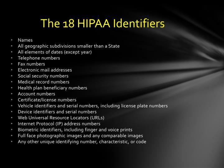 The 18 HIPAA Identifiers