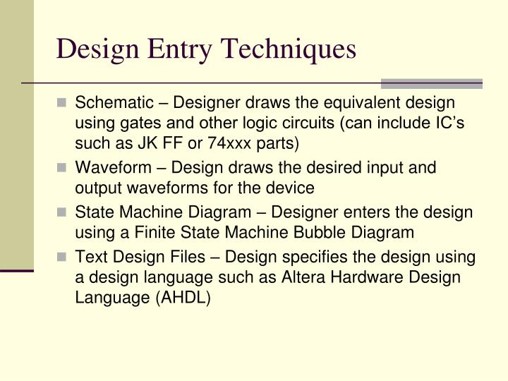 Design Entry Techniques