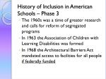 history of inclusion in american schools phase 3