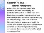 research findings teacher perceptions