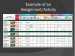 example of an assignment activity