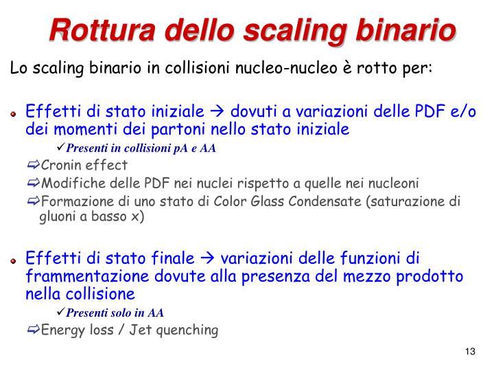 Rottura dello scaling binario