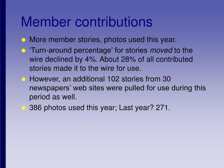 Member contributions