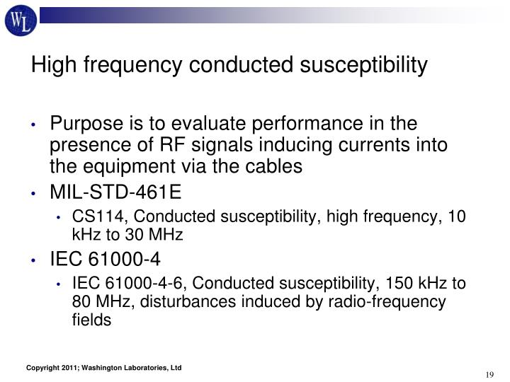 High frequency conducted susceptibility
