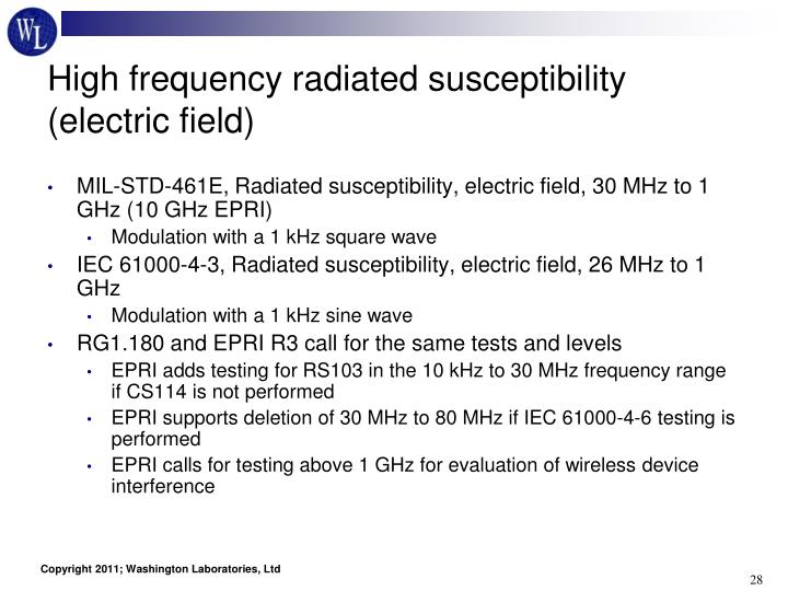 High frequency radiated susceptibility (electric field)