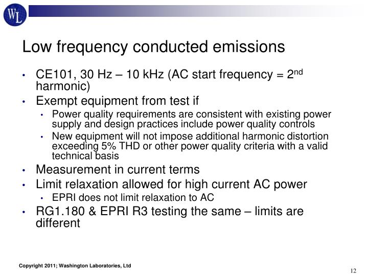 Low frequency conducted emissions