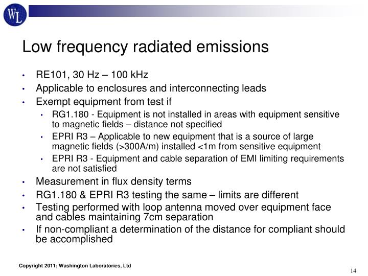 Low frequency radiated emissions