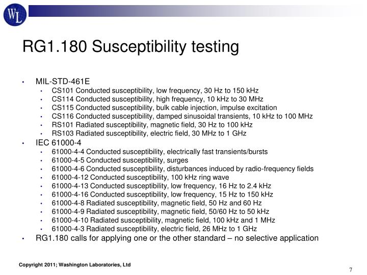 RG1.180 Susceptibility testing