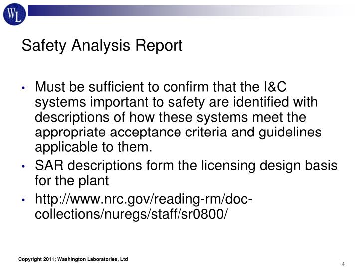Safety Analysis Report