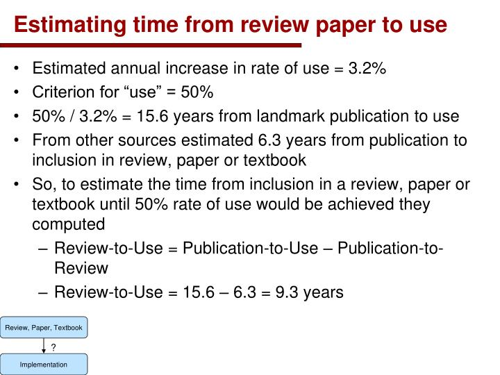 Estimating time from review paper to use