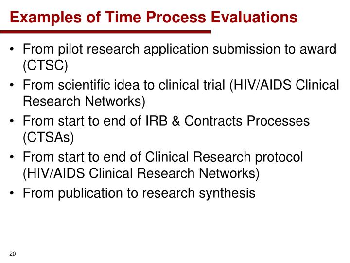 Examples of Time Process Evaluations