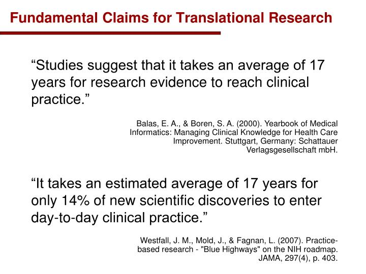 Fundamental claims for translational research