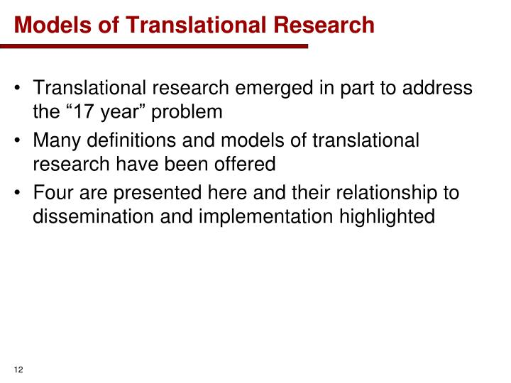 Models of Translational Research