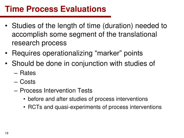 Time Process Evaluations