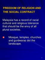 freedom of religion and the social contract