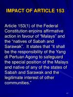 impact of article 153