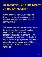 islamisation and its impact on national unity