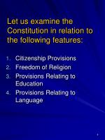 let us examine the constitution in relation to the following features