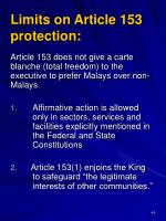 limits on article 153 protection