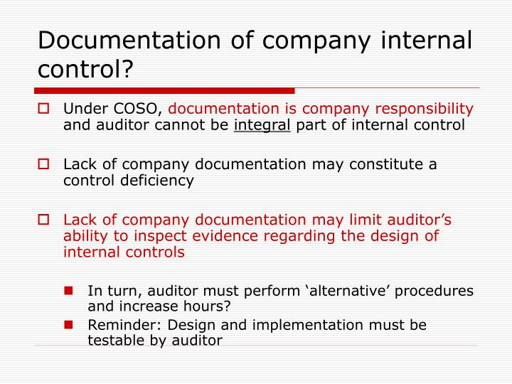 Documentation of company internal control?