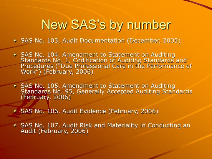 New sas s by number