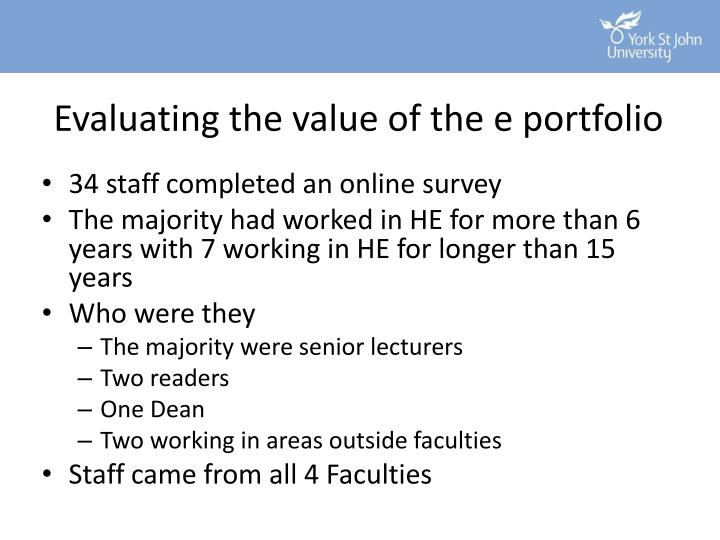 Evaluating the value of the e portfolio