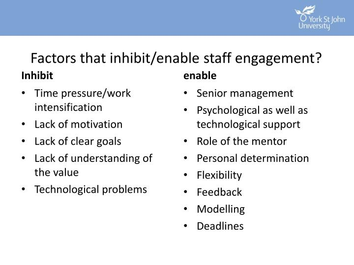 Factors that inhibit/enable staff engagement?