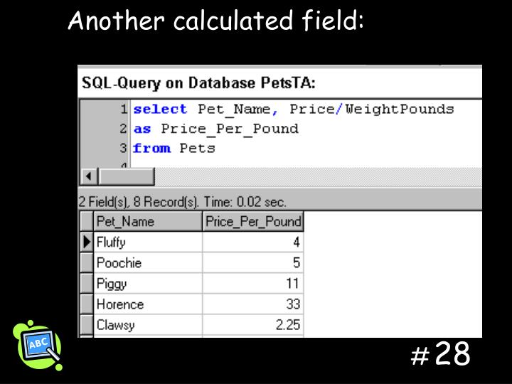 Another calculated field: