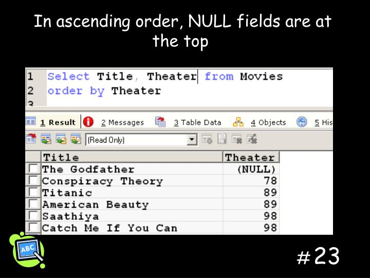 In ascending order, NULL fields are at the top