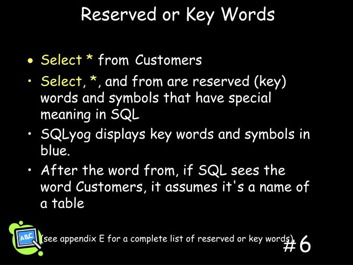 Reserved or Key Words