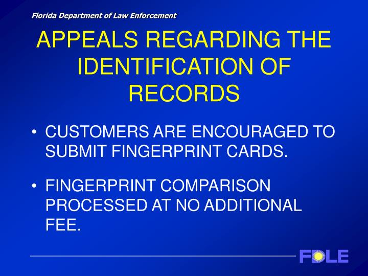 APPEALS REGARDING THE IDENTIFICATION OF RECORDS