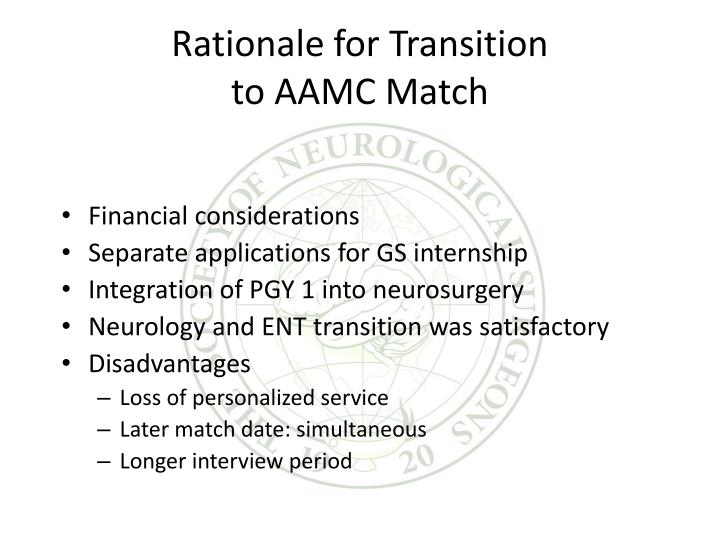 Rationale for transition to aamc match