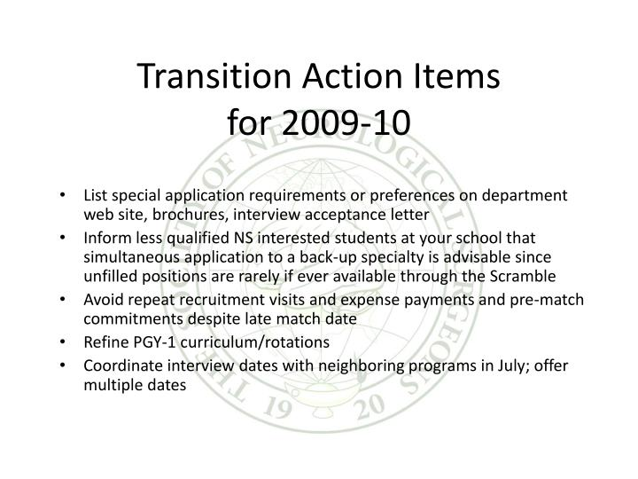 Transition Action Items