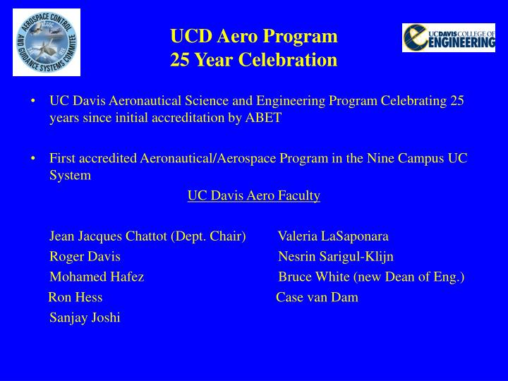 Ucd aero program 25 year celebration