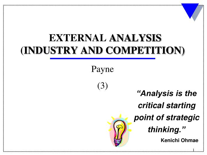 analysis is the critical starting point of strategic thinking