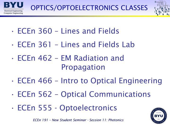 OPTICS/OPTOELECTRONICS CLASSES