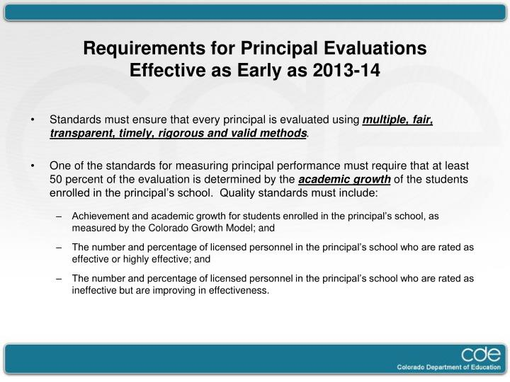 Requirements for Principal Evaluations