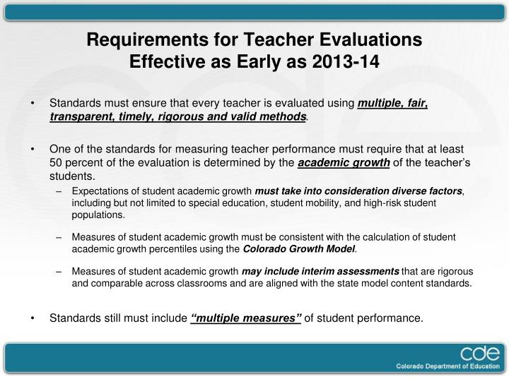 Requirements for Teacher Evaluations