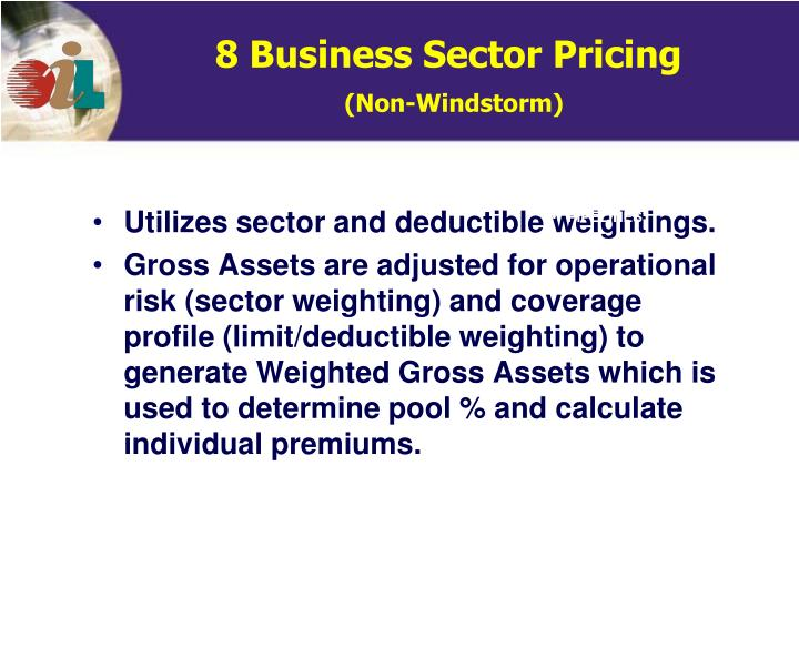Utilizes sector and deductible weightings.