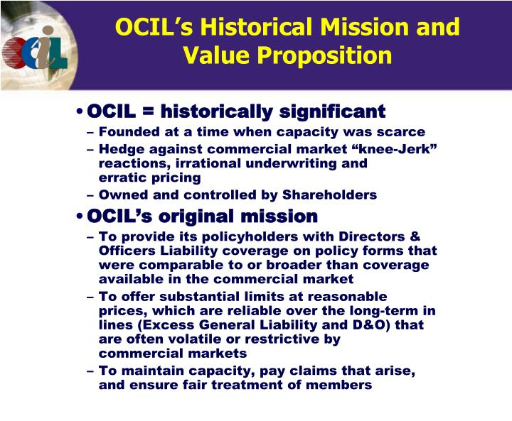 OCIL's Historical Mission and ValueProposition
