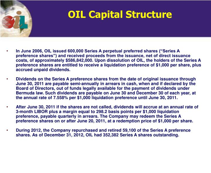 OIL Capital Structure