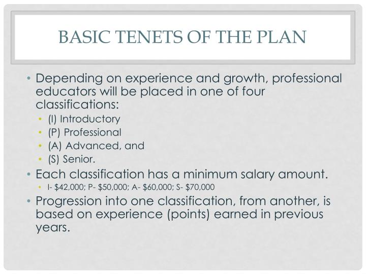 Basic tenets of the plan