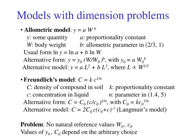 Models with dimension problems