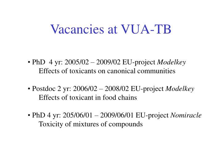 Vacancies at VUA-TB
