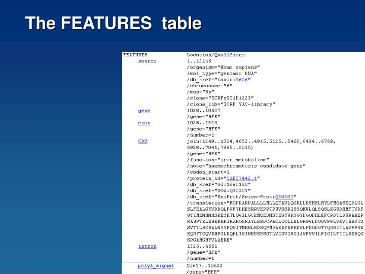 The FEATURES  table