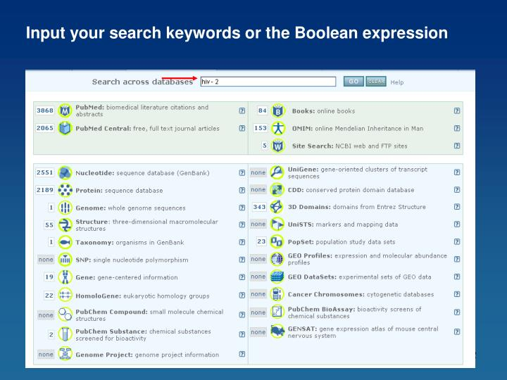 Input your search keywords or the Boolean expression