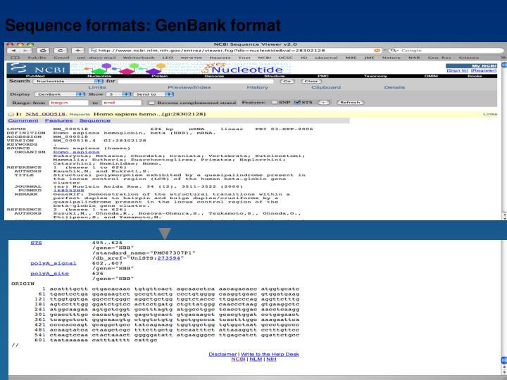 Sequence formats: GenBank format