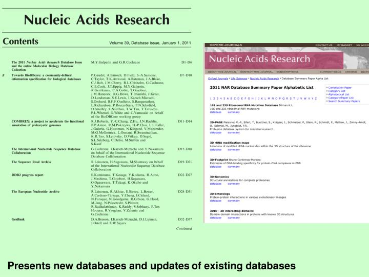 Presents new databases and updates